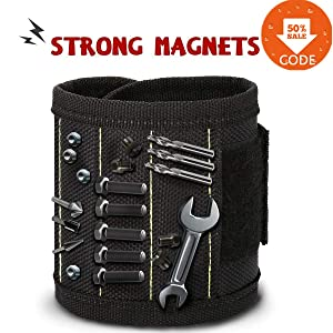 Magnetic wristband,CAMTOA Durable Multi-purpose Magnetic Wristband with Strong Magnets for Holding Screws Nails Drill Bits and Tools Handy While Working &The Best Tool Gift for DIY Handyman Men Women
