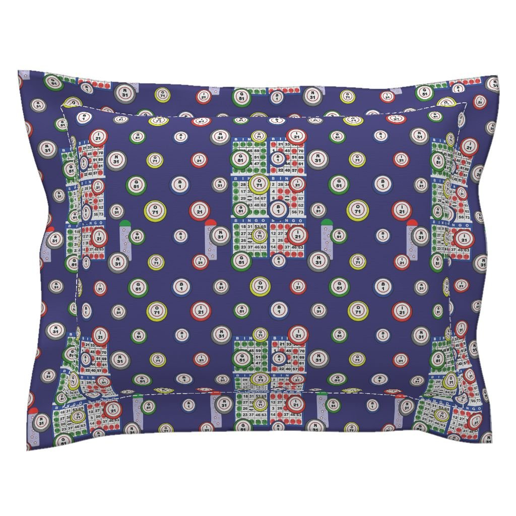 Roostery Bingo Euro Flanged Pillow Sham Bingo 6On by Dd BAZ Natural Cotton Sateen Made