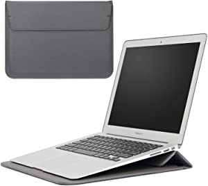 BROQLI MacBook Pro 16 inch Stand Sleeve Case for MacBook Pro 15'' / MacBook Air 13'' / iPad Pro 12.9'' / Ultrabook Laptop 15'', 13'' / PU Leather Transformer Envelope (Grey 16''-15'')
