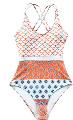 b86cfb4f7 CUPSHE Women's Beautiful World Print One-piece Swimsuit High Waisted  Swimwear