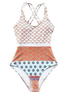 2dea3a6adeece CUPSHE Women s Beautiful World Print One-piece Swimsuit High Waisted  Swimwear