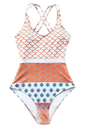 40575b054d6 CUPSHE Women's Beautiful World Print One-piece Swimsuit High Waisted  Swimwear Small