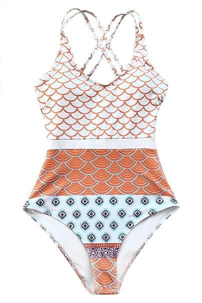 Amazon.com: CUPSHE traje de baño de una pieza con estampado ...