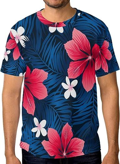 Camisetas para hombre, diseño de hojas de hibisco, color rojo tropical