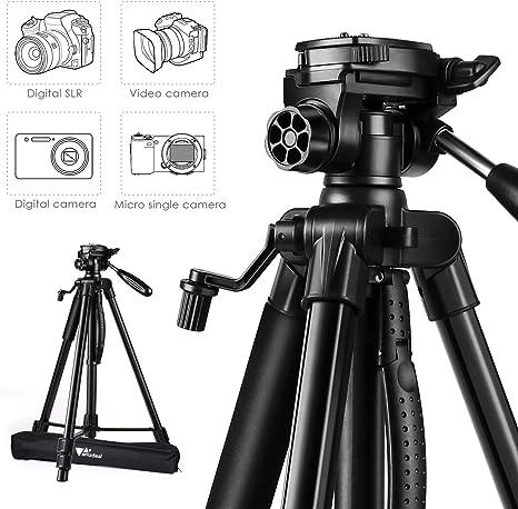 Amzdeal - Trípode ligero para cámara (aluminio ajustable, con bolsa de transporte, soporte para cámara, ideal para viajes y trabajo): Amazon.es: Electrónica