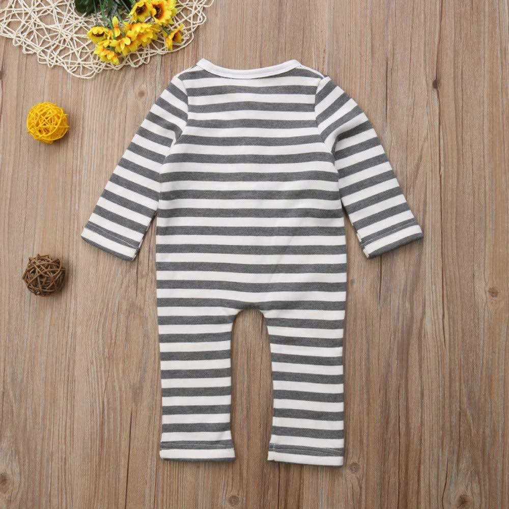 H.eternal Long Sleeve Romper One-Piece Coverall Striped Jumpsuit Buttons Outfits Footless Cotton Pajamas Outfit Clothes Gray