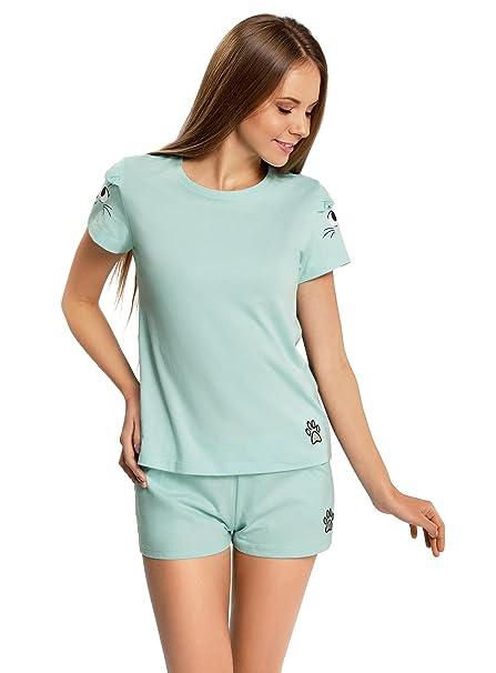 oodji Ultra Mujer Pijama de Algodón con Estampado, Turquesa, ES 42 / L