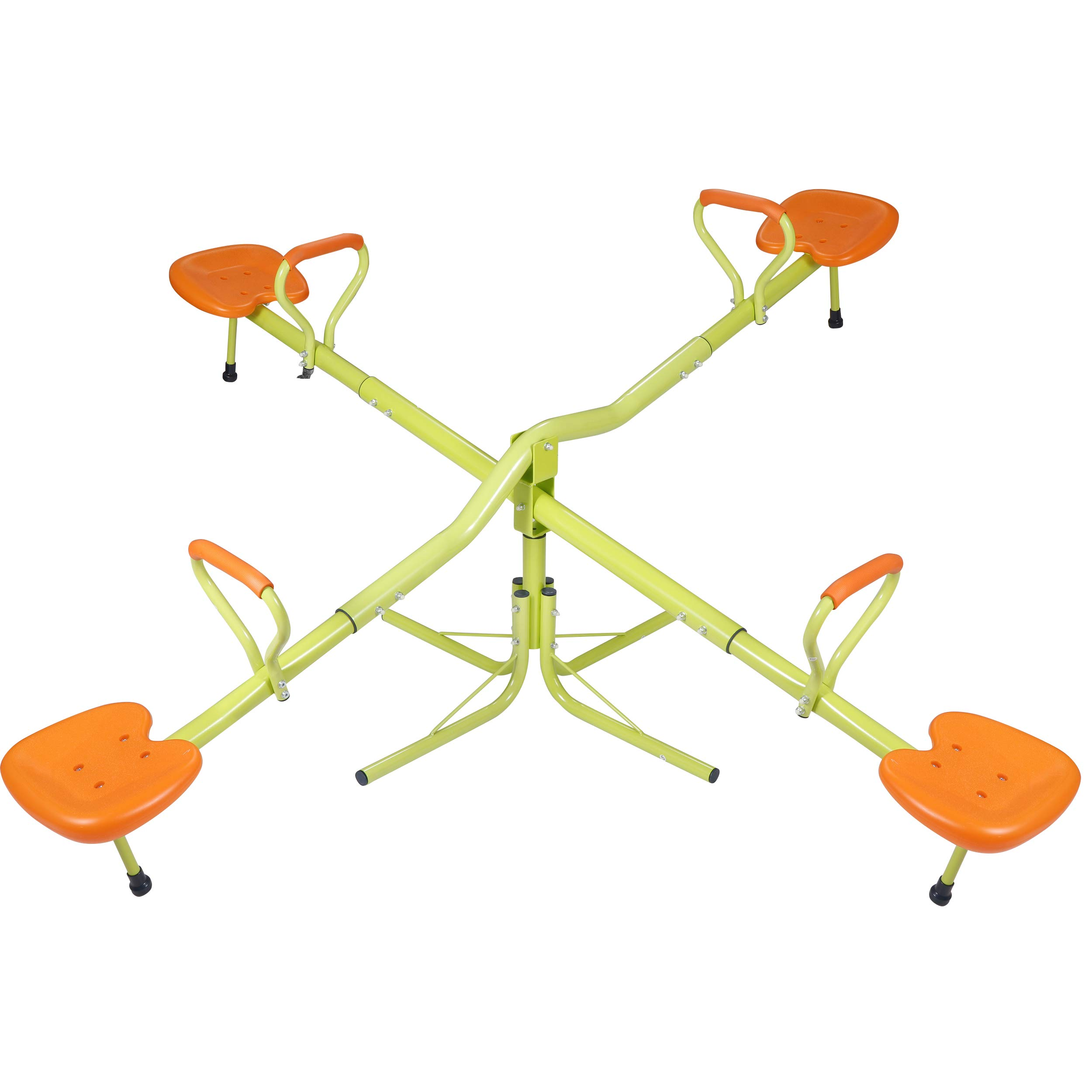 SUPER DEAL Extendable Quad 4 Seat Seesaw Rotator Teeter-Totter 360° Rotate - All Steel Tubes - Weather&Rust Resistant - for Indoor&Outdoor Use  (Orange&Green) by SUPER DEAL