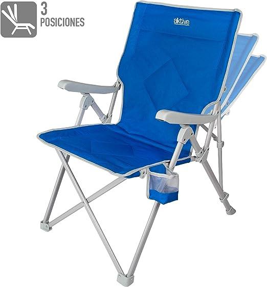 Aktive 52839 Chaise Pliante pour Camping 3 Positions 59 x 87 x 98 cm