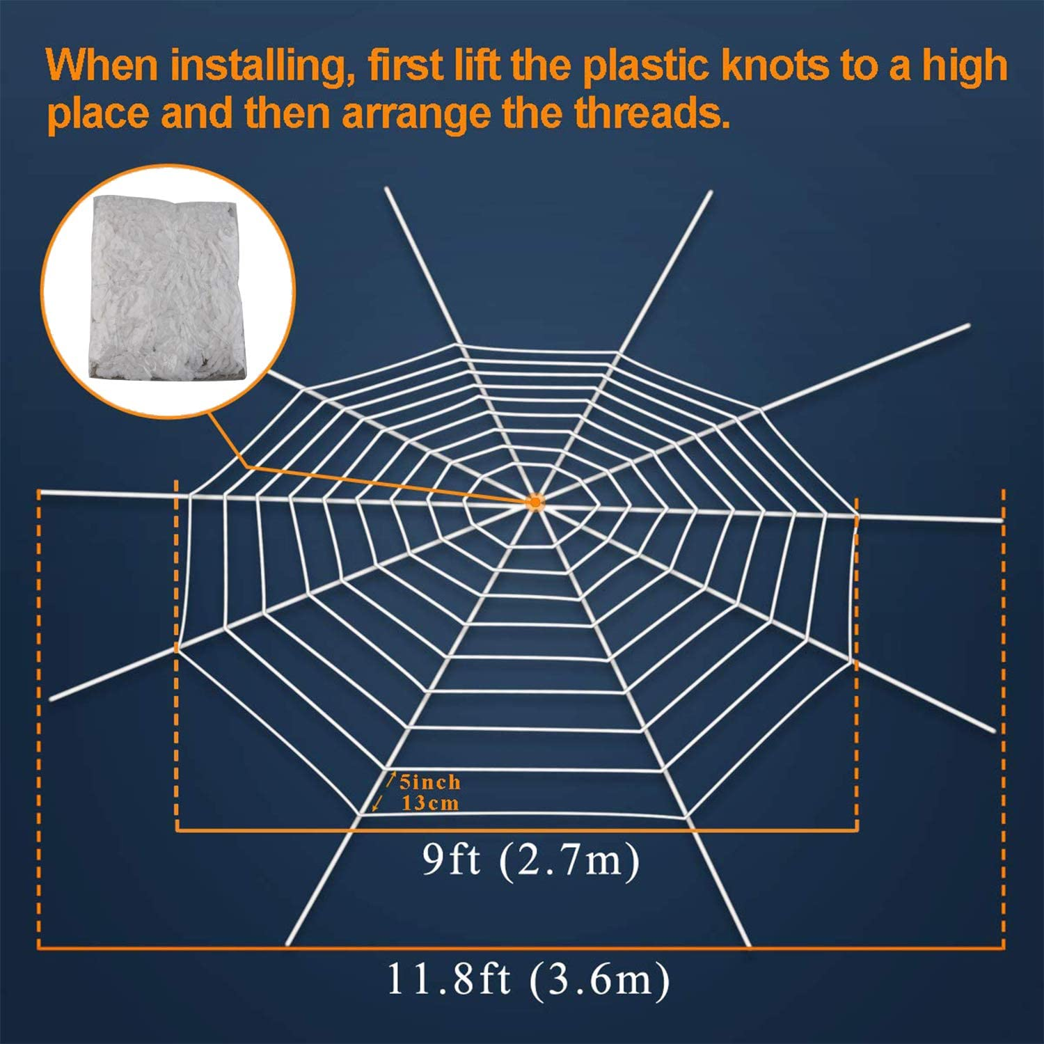 ENDIESS Halloween Decorations Outdoor Giant Spider 4.1ft