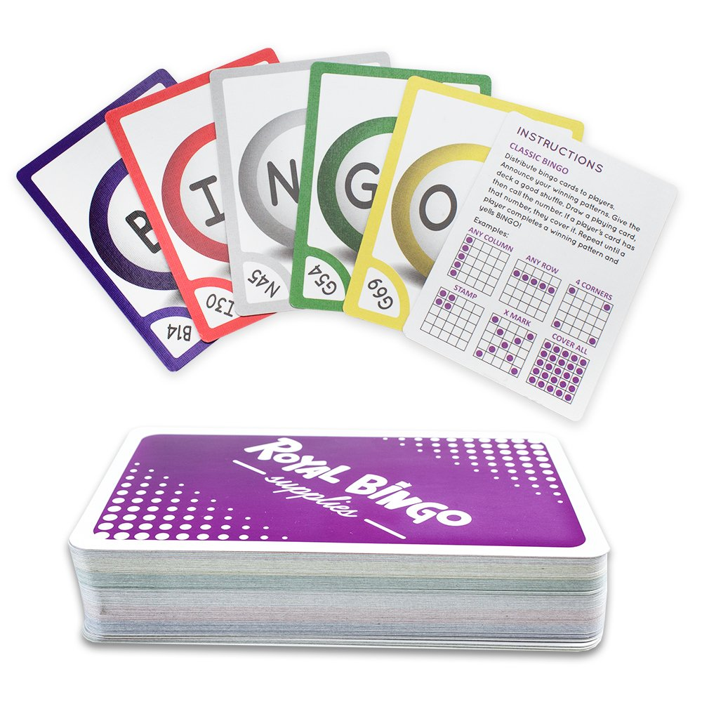 Royal Bingo Supplies Pack of 81 Bingo Calling Cards - Pocket-Sized, Easy-Read 3.5 inch x 2.5 inch Poker Wide-Size Game Playing Cards GBIN-801