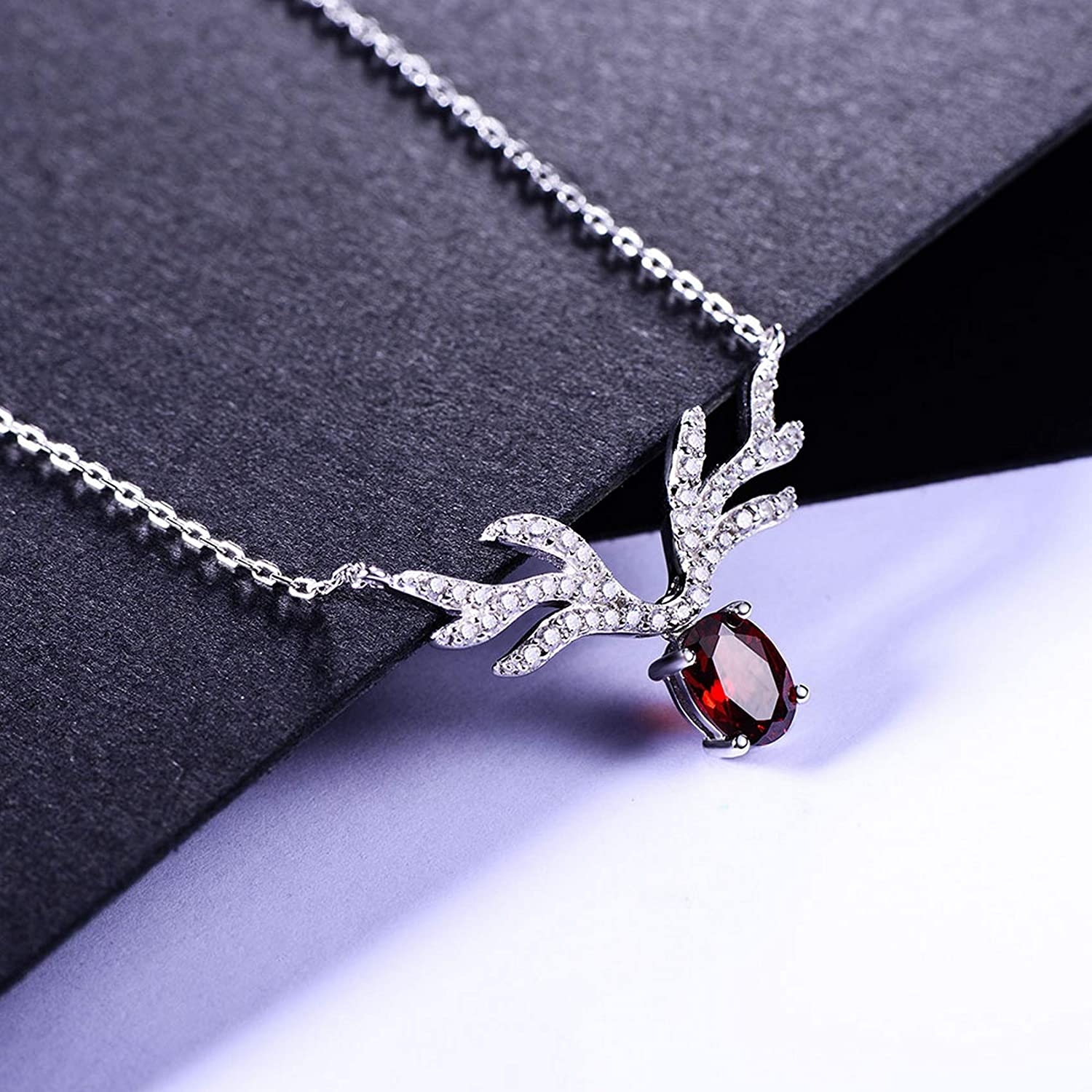 MMC Silver Necklaces 0.95ct Genuine Natural Red Garnet Womens Pendants