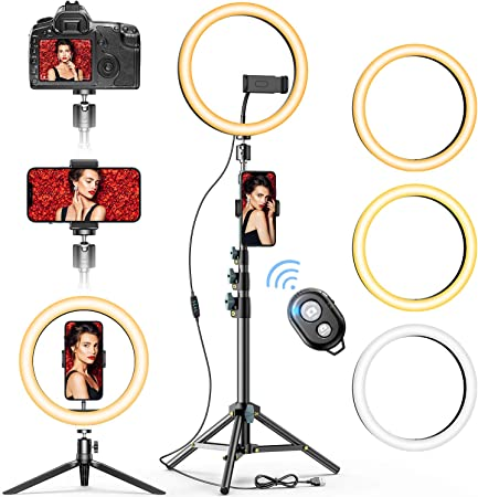 Compatible for Android /& iOS for Phone Camera YouTube Makeup Video Dimmable Bluetooth Remote Control,with Phone Holder 8 Ring Light Selfie Ring Light Kit