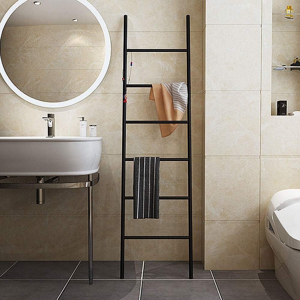 Escalera Decorativa Baño de Metal con 6 Barras Toallero de Pie Baño Negro Mate sin Taladro, Colgador de Ropa para Toallas y Ropablack: Amazon.es: Hogar