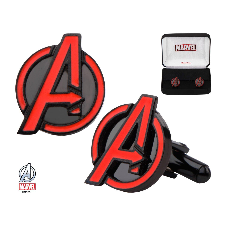 MarvelアベンジャーズロゴステンレススチールCufflinks w /ギフトボックスbyスーパーヒーローブランド B076QKW7L4