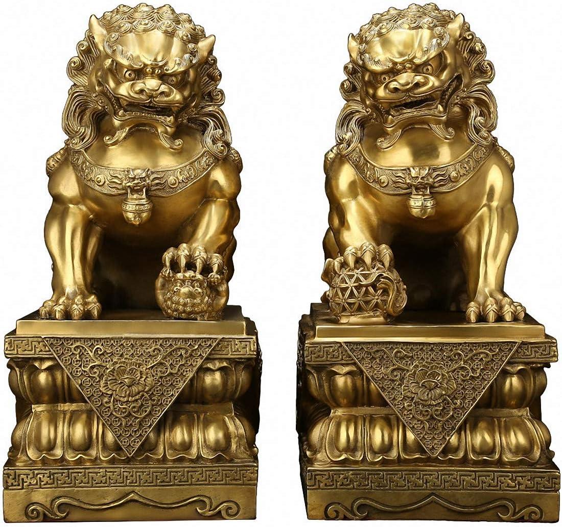Brass Feng Shui Beijing Foo Fu Dog Guardion Door Evil Lion Statue Pair (17.5