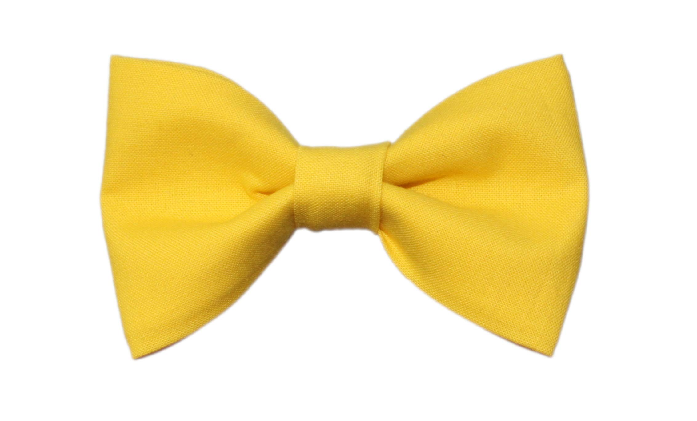 Boys Citrus Yellow Clip On Cotton Bow Tie Bright Yellow Bowtie