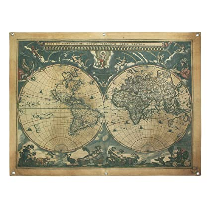 Amazon french retro vintage large old world map waterproof french retro vintage large old world map waterproof linen poster print art wall hanging decor 48x36 gumiabroncs Image collections