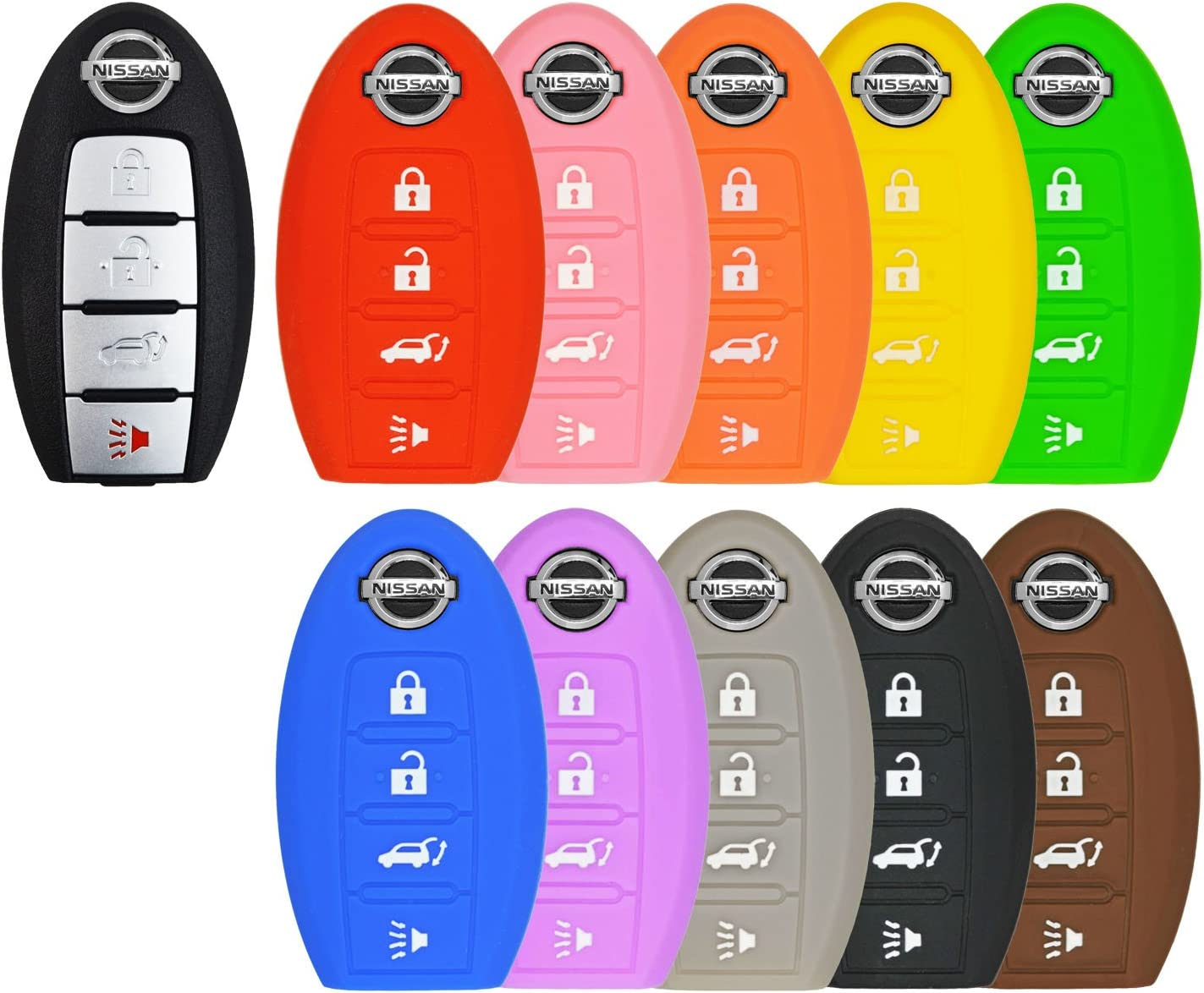qualitykeylessplus Pink Rubber Case Silicone Protective Cover for Nissan 5 Button Remotes with Free KEYTAG