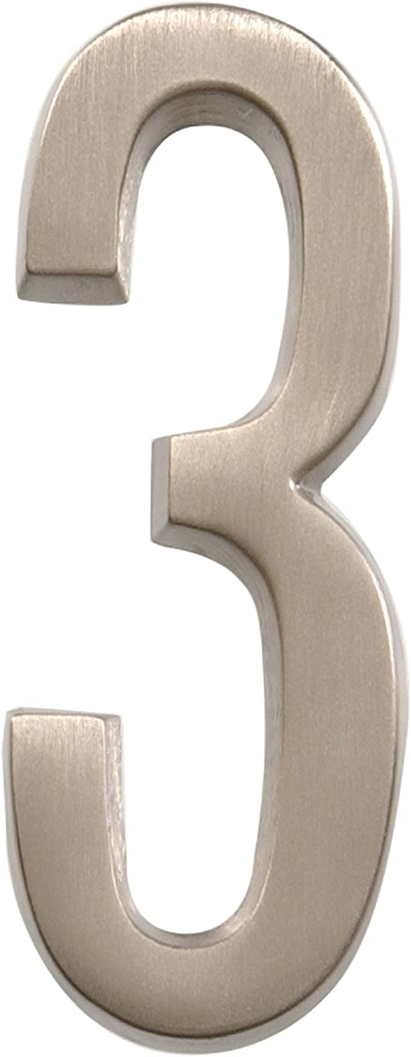 Distinctions by Hillman 843283 4-Inch Die Cast Self-Adhesive House Address, Brushed Nickel, Number 3