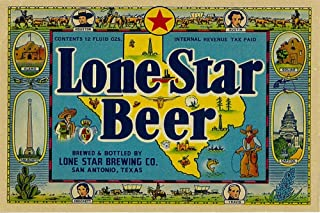 product image for Lone Star Brand - San Antonio, Texas - Beer Label (9x12 Art Print, Wall Decor Travel Poster)