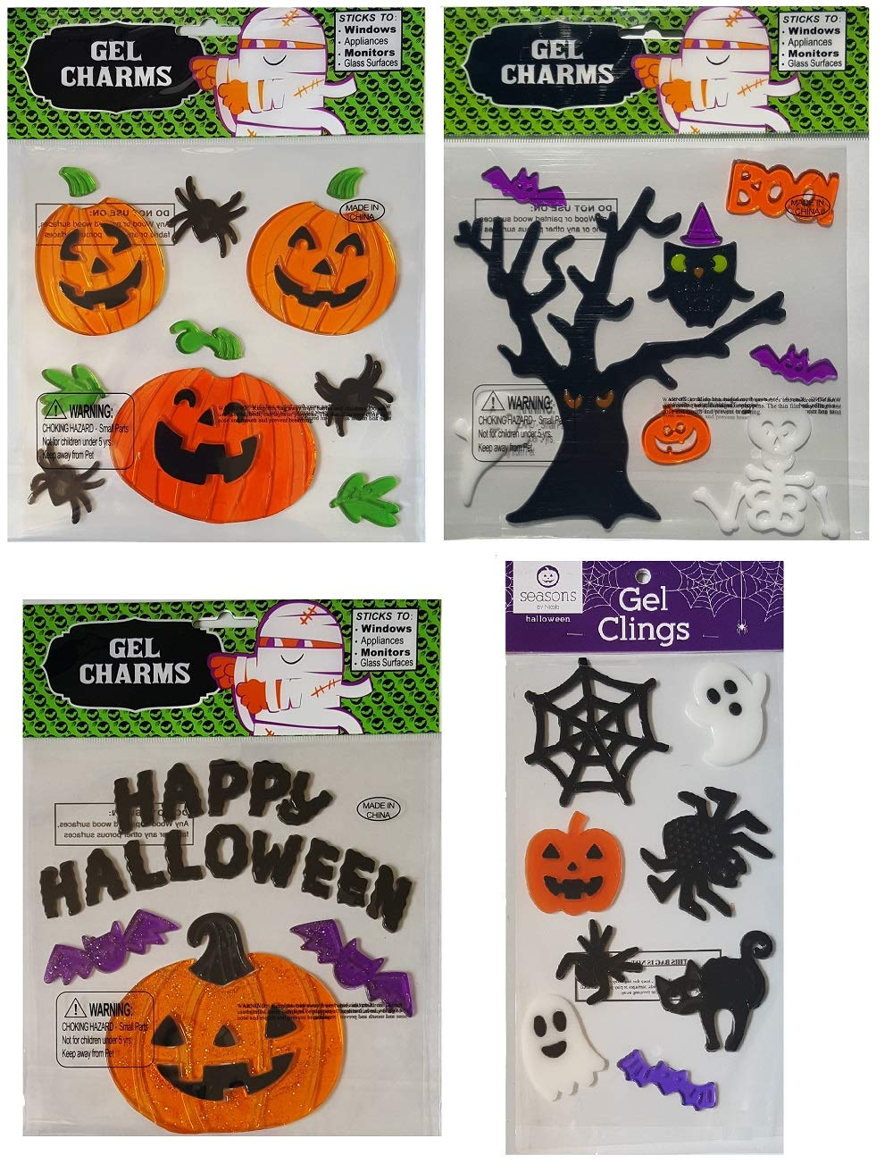 Halloween Decorations - Window Gels with Ghosts, Spiders, Pumpkins, Haunted Tree, Bats, Happy Halloween, and More – 4 Sheets