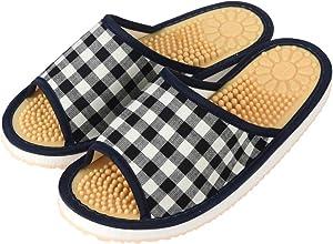 JNE Indoor Open Toe Non-Slip Acupressure Reflexology Massage Slippers (L Recommended for.(Size up to: Women 6.5/Men 5), CheckPattern-Black)