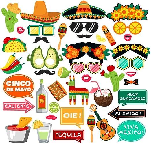 Amosfun 44 Piezas DIY Photocall Apoyos del Fotomatón Comunion Divertido Decoracion para Fiesta Mexicana Accesorios Fotográficos cumpleaños: Amazon.es: Hogar