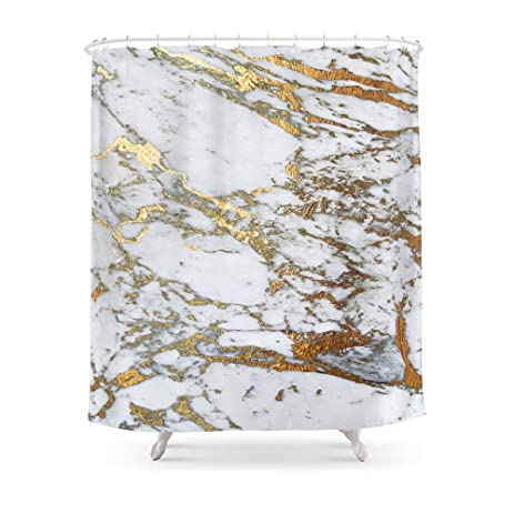 Society6 Gold Marble Shower Curtain 71quot