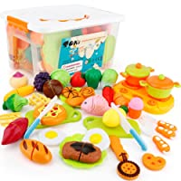 SONi 40Pcs Cutting Food Toys, Pretend Food Set with Storage Case, Kitchen Toy Set Fun Cutting Pizza Fruits Vegetable Omelette Family Playset Cutting toys For Girls Boys Early Age Educational Skills Development