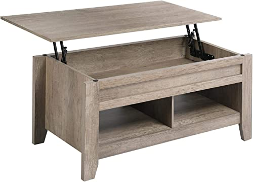 Topeakmart Modern Coffee Table with Storage Shelf and Hidden Compartmant, Center Tables for Living Room, Craftsman Oak