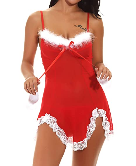 37fbd7f09 M.Mystery Women s Christmas Lingerie Sexy Santa Babydolls Red Lace Nightwear  Slip V Neck Chemises with G-String at Amazon Women s Clothing store
