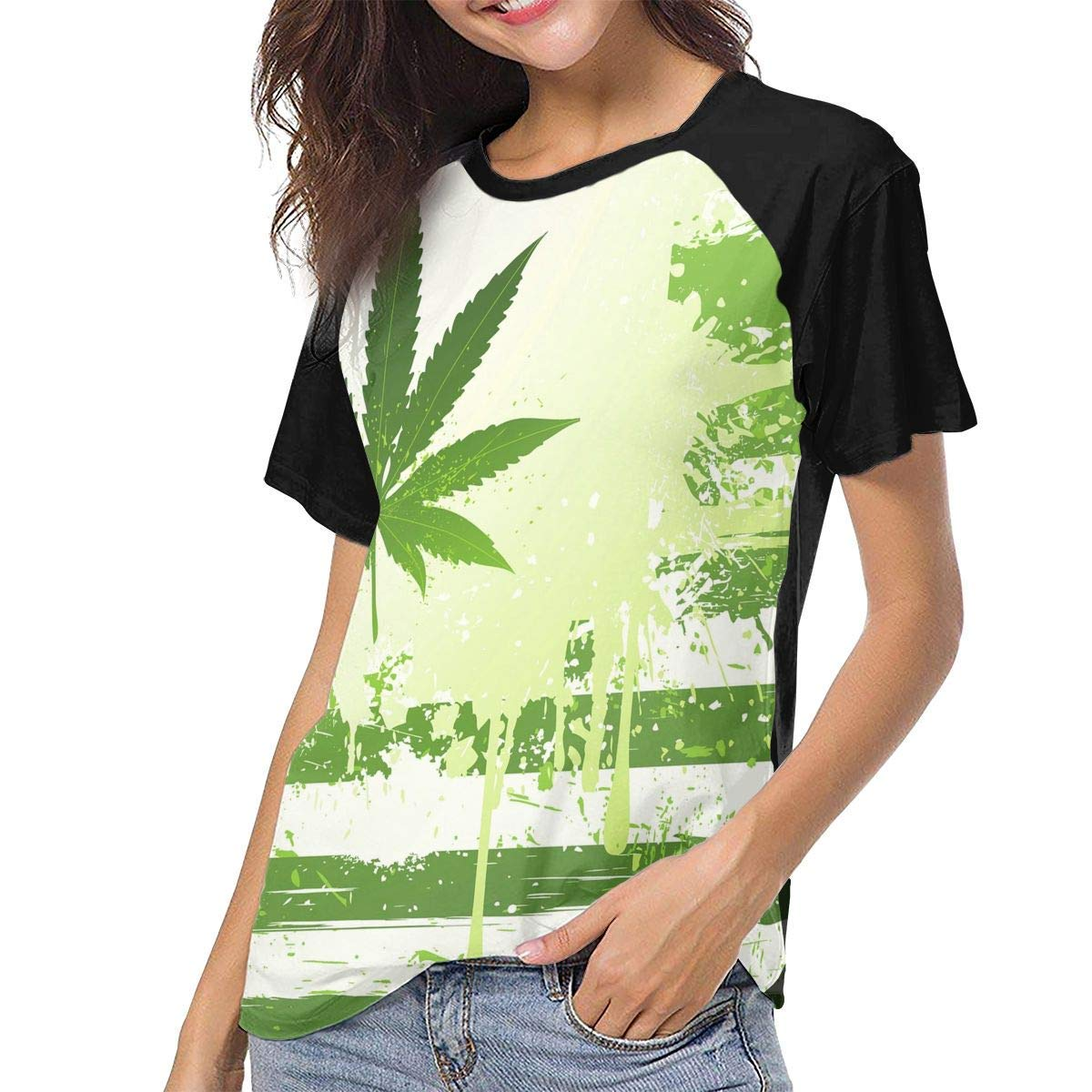 Womens Jersey Shirt Baseball Tee Marijuana Green Flag Stylish Crew Neck Short Sleeve Raglan T-Shirts Tops Blouse