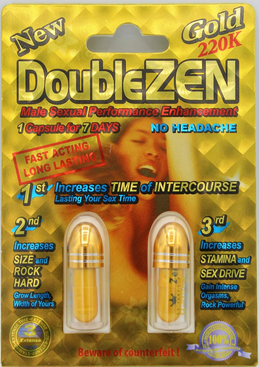 Double Zen Gold 220K Power Male Sexual Enhancement Supplement. (3 Packs) Total 6 Pills