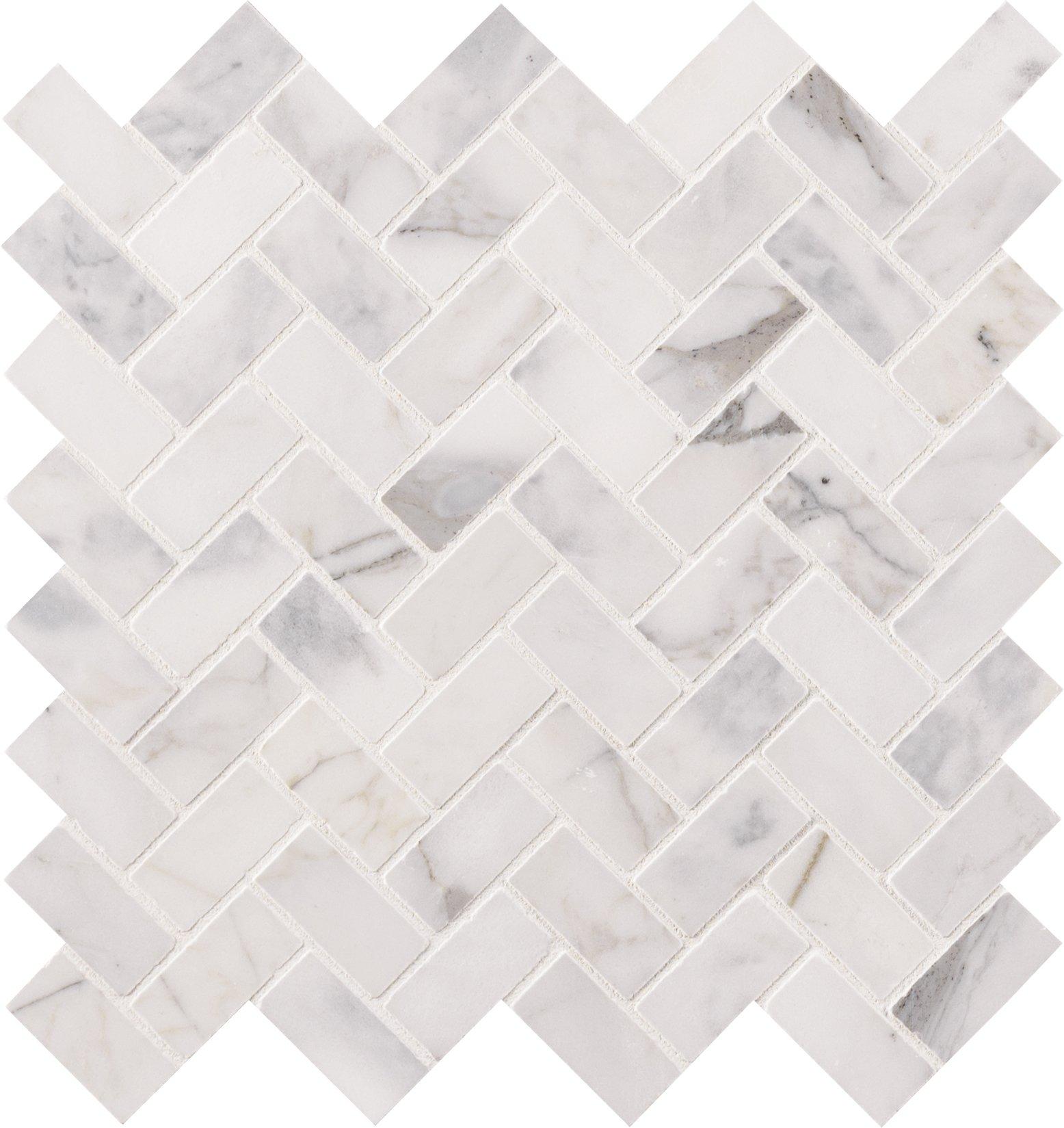 MS International AMZ-MD-00116 Calacatta Cressa Herringbone Honed Marble Tile 11.6 in. x 11.61 in. White 10 Piece