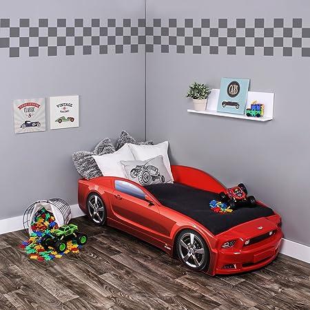 KAGU Autobett Kinderbett Jungendbett Juniorbett im Design eines echten Autos auch mit LED-Beleuchtung erhältlich. Praktisches