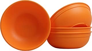 """product image for Re-Play Made in USA Recycled Products, Set of 4 (5.75"""" Heavy Duty Dining Bowl, Orange) Great for Outdoor, Camping, Party, Tailgating or Everyday Dining