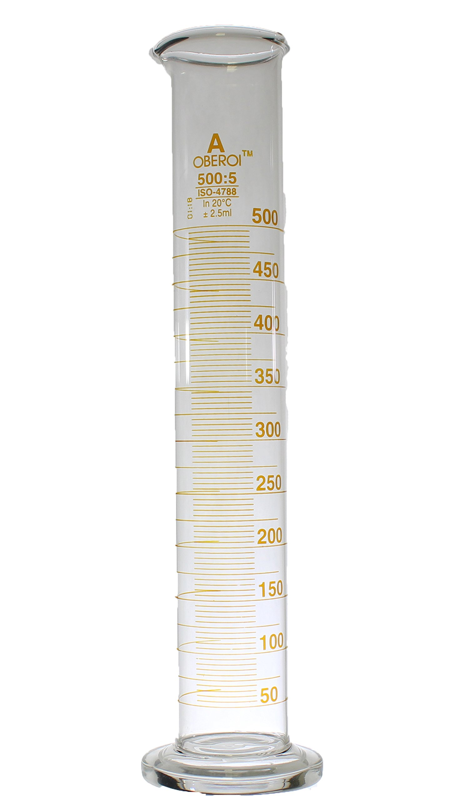 500 ml Graduated Cylinder, Round Base, Class A, Lot Certified