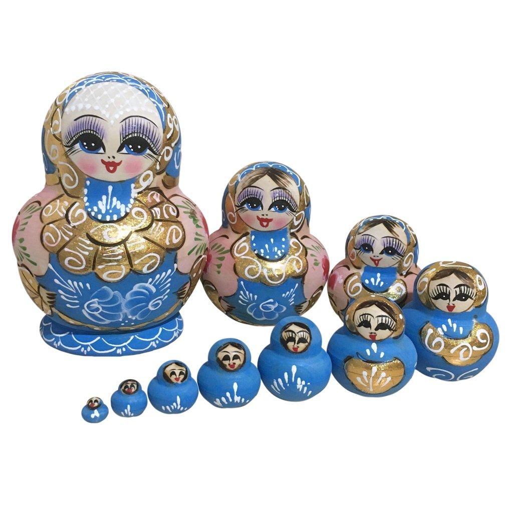 Baoblaze 10PCS Beautiful Handmade Wooden Russia Nested Dolls Babushka Dolls Matryoshka Blue for Children Kids Christmas Mothers Day Birthday Home Decoration Gift