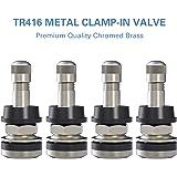 "CKAuto 4 Pieces TR416 Metal Valve Stems Outer Mount Fits .453"" & .625"" Rim Holes Long 1 1/2"", Silver"