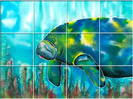 Mo The Manatee UV Outdoor Ceramic Tile Mural X - Ceramic tile murals for outdoors