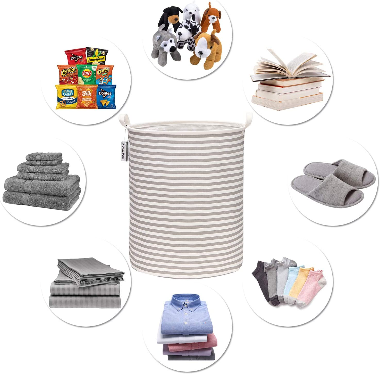Sea Team 19.7 Large Sized Waterproof Coating Ramie Cotton Fabric Folding Laundry Hamper Bucket Cylindric Burlap Canvas Storage Basket with Stylish Grey /& White Stripe Design