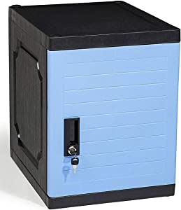 "Jink Locker, Lockable Storage Cabinet 19"" with Keys | Great for Kids, Home, School, Office or Outdoor | Toy Box, Footlocker, Bedside Dresser/Nightstand, Sports or Gym (Blue)"