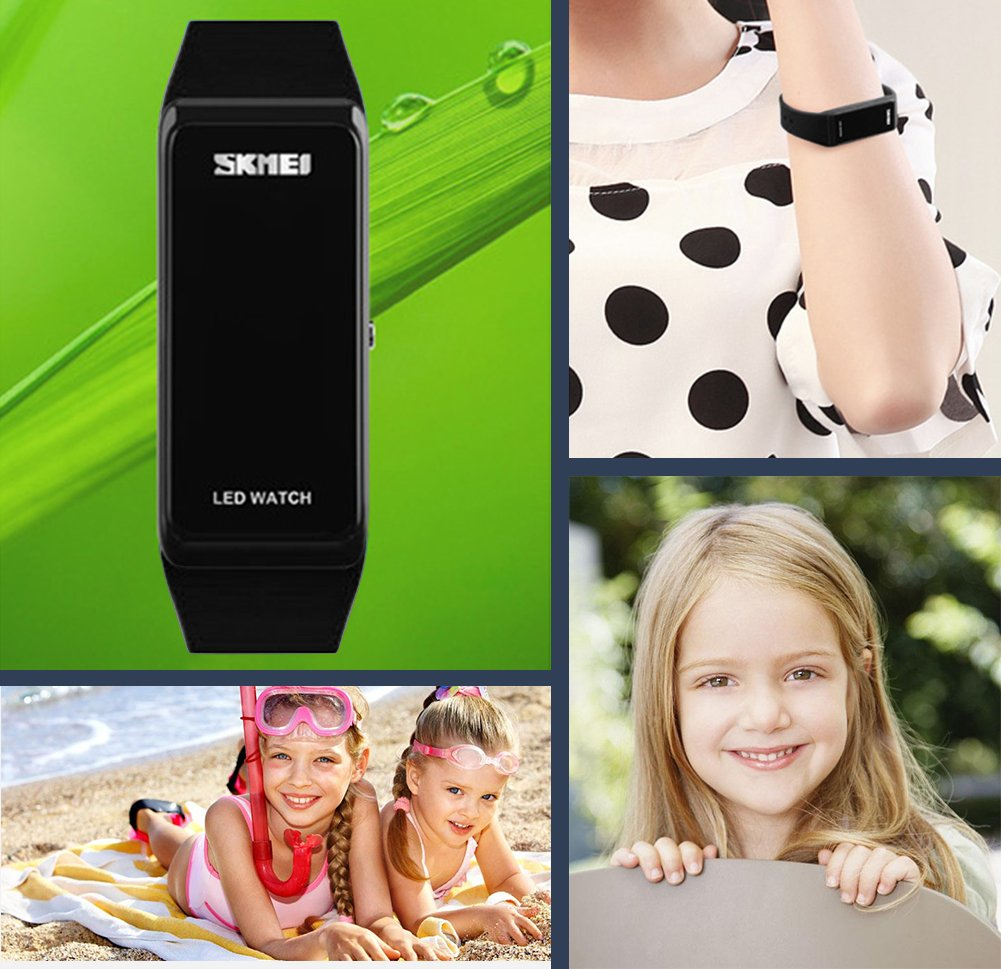 Kids Digital Watches, Boys Girls Waterproof Outdoor Sports Watches, Teenagers Childrens Electronic Digital Sport Wrist Watch with LED Backlight Sold by UEOTO (Black)