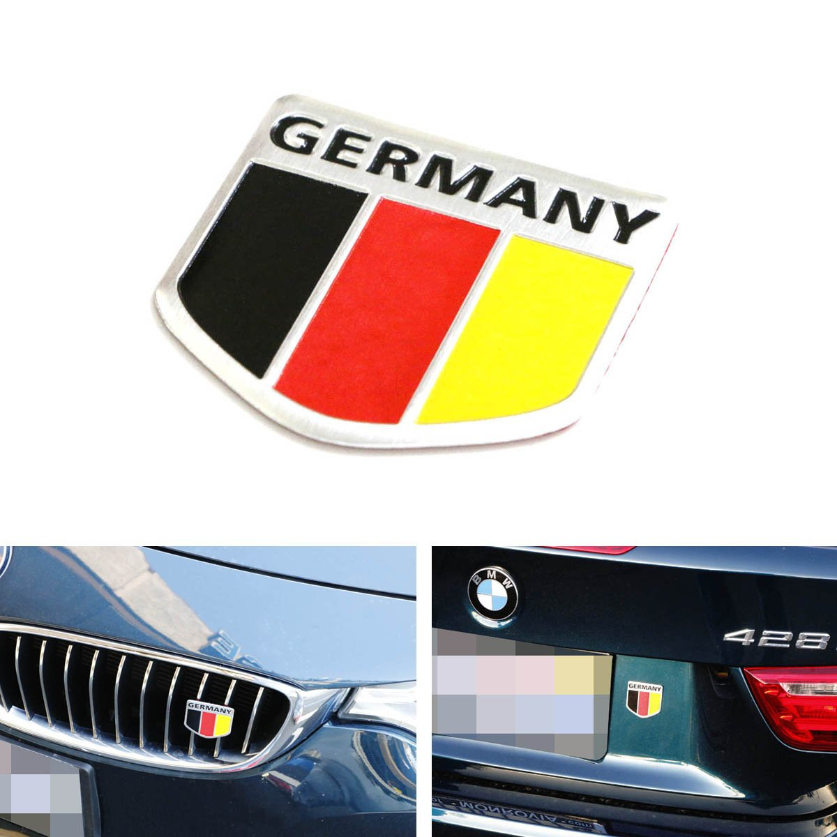Amazon.com: IJDMTOY (1) Germany Black Red Yellow Badge For European Cars  Audi BMW MINI Mercedes Benz Porsche Volkswagen Decoration: Automotive