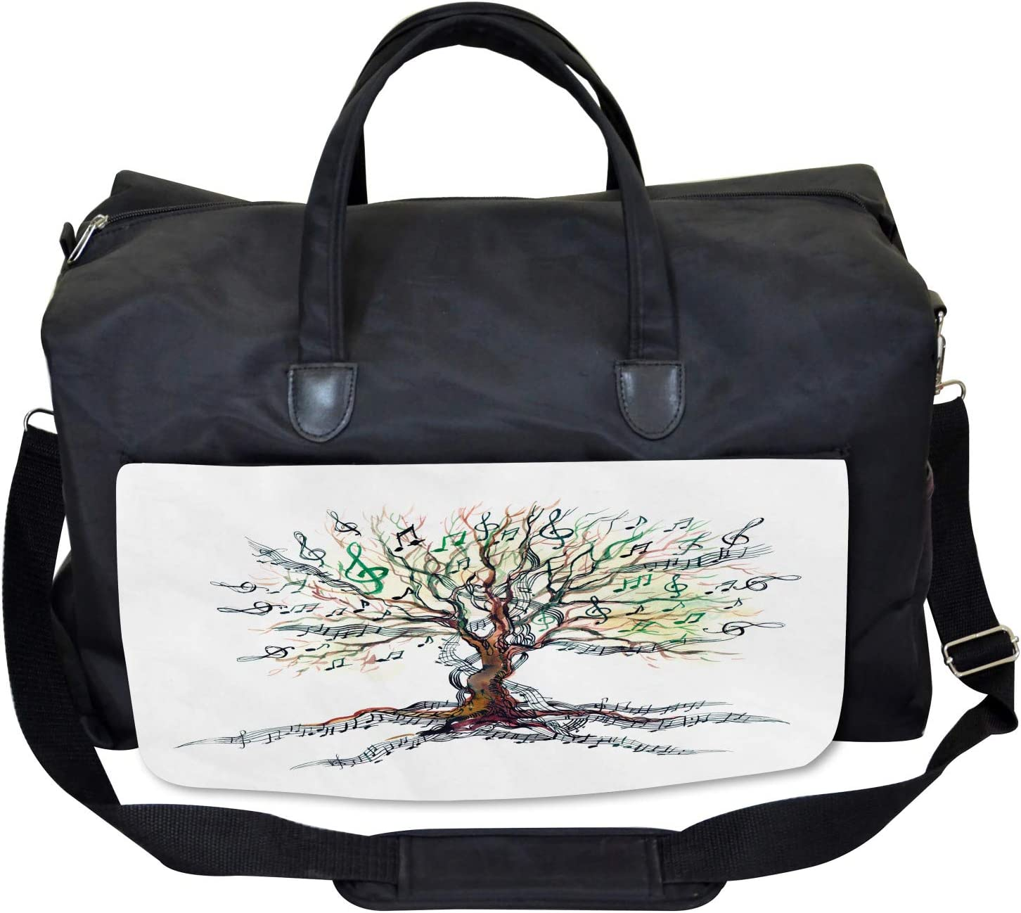 Autumn Nature Tree Swirls Large Weekender Carry-on Ambesonne Music Gym Bag