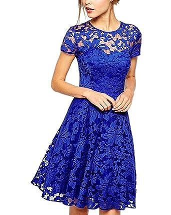 Yigoo Elegant Damen Retro Spitzen Kleider Abendkleid Cocktailkleid Vintage  50er Knielang Schwingen Pinup Rockabilly Kleid S-5XL  Amazon.de  Bekleidung abc2c9c849