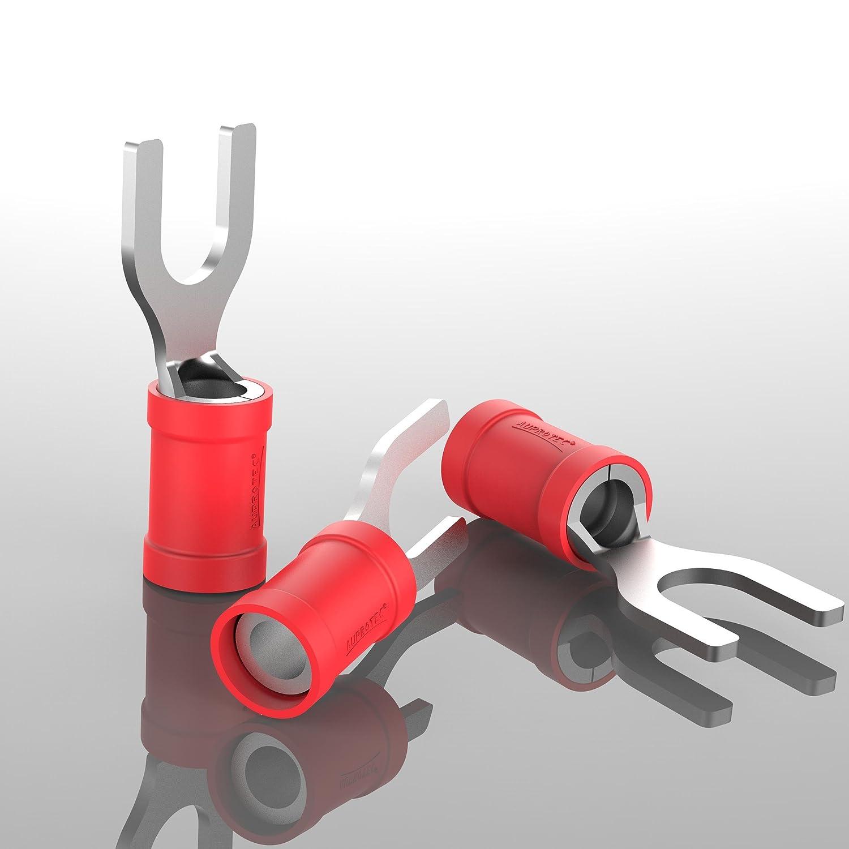 AUPROTEC 100x Connettore a Forcella 2,5-4,0 mm/² nero foro /Ø M5 SV Capicorda Preisolati PVC Connettori a Forchetta Rame Stagnato Terminali Crimp per Cavi Fili Elettrici