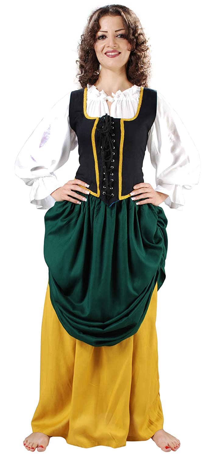 Women's Double-Layer Green and Gold Medieval Renaissance Skirt by Armor Venue - DeluxeAdultCostumes.com