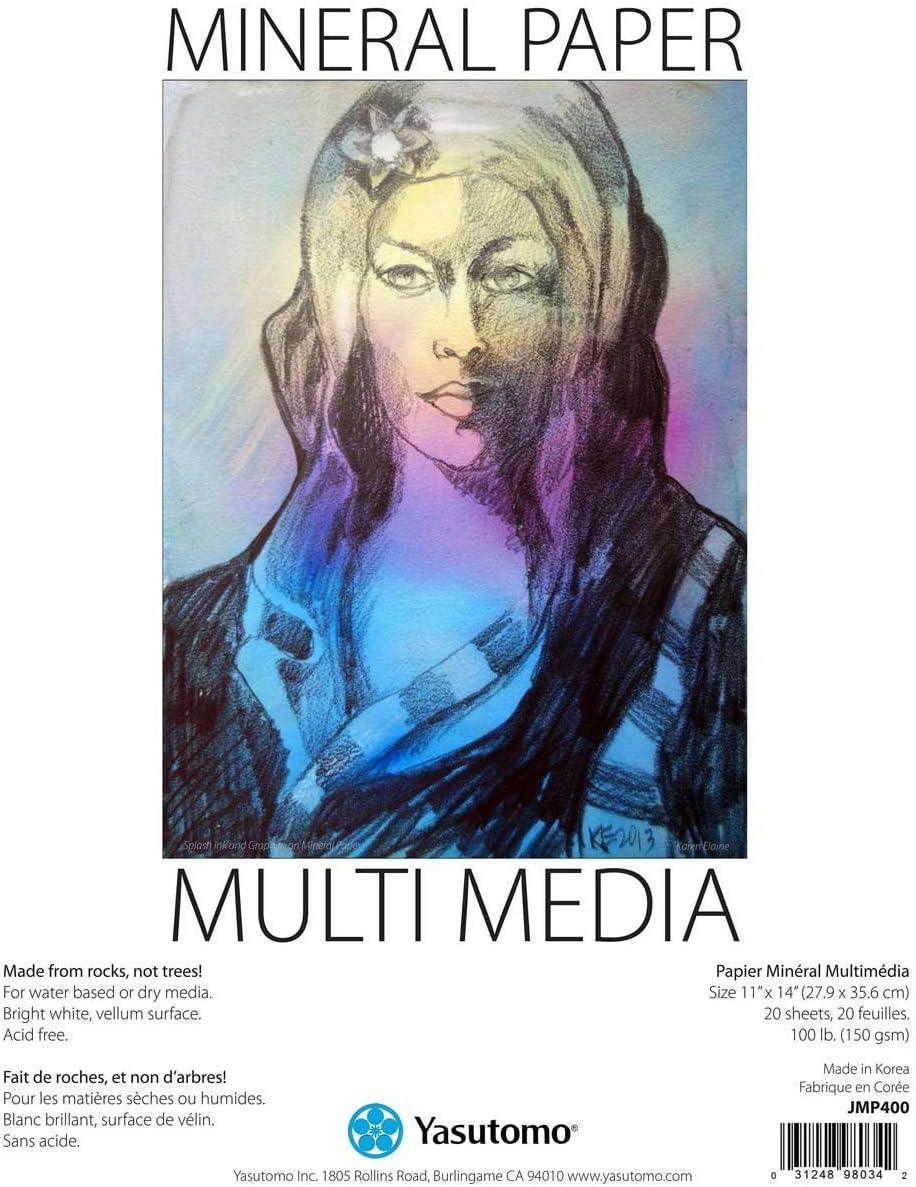 B01DJI76C4 Yasutomo Mineral Paper Multi-Media Artists Pad, 11 X 14 inches, 20 Sheets (JMP400) 7171AqHelqL